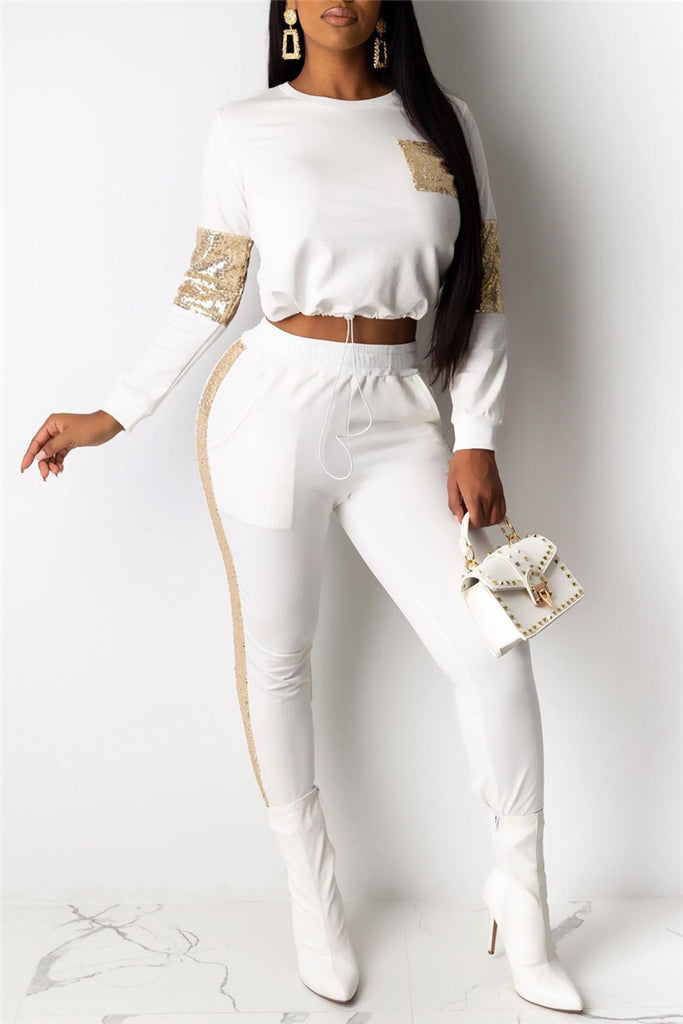 Sequins Patchwork Long Sleeve Two Piece Sets