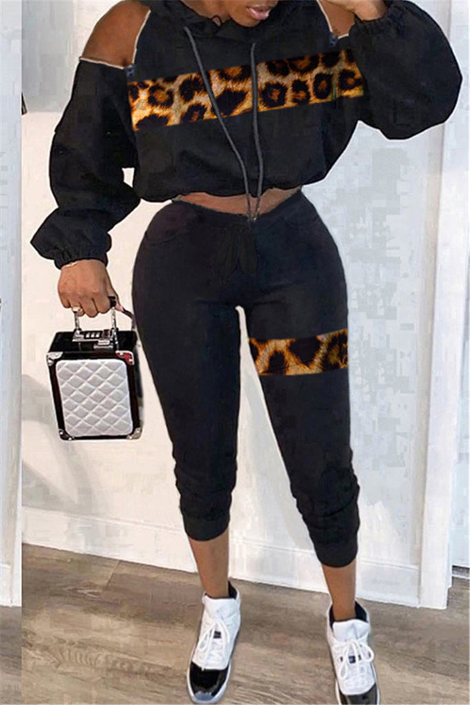 Leopard Print Zipper Design Hooded Two Piece Sets