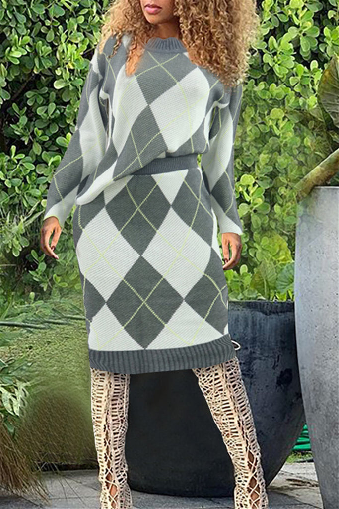 Argyle Print Long Sleeve Knitted Two Piece Dress