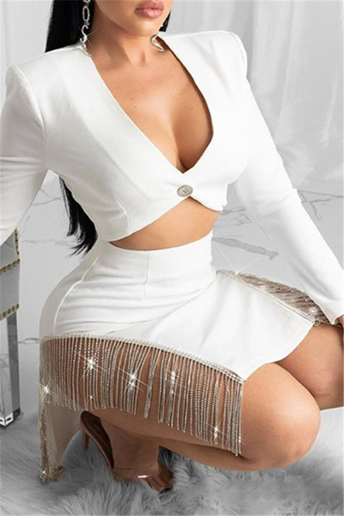 Tassels Decor Long Sleeve Sexy Two Piece Dress
