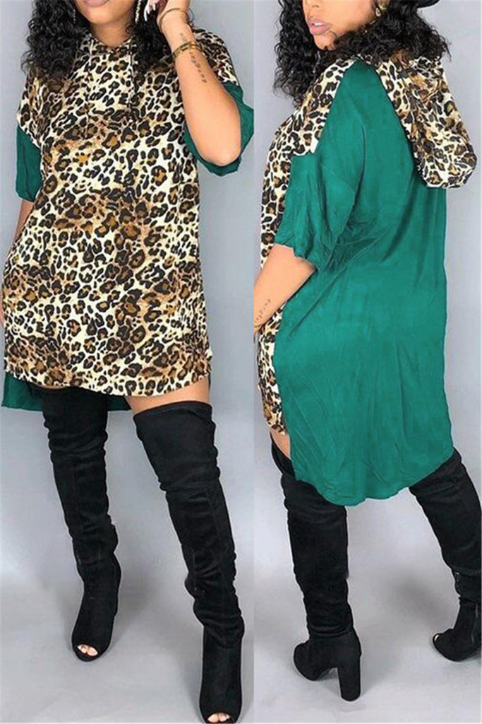 Leopard Patchwork Hooded Collar Casual Dress