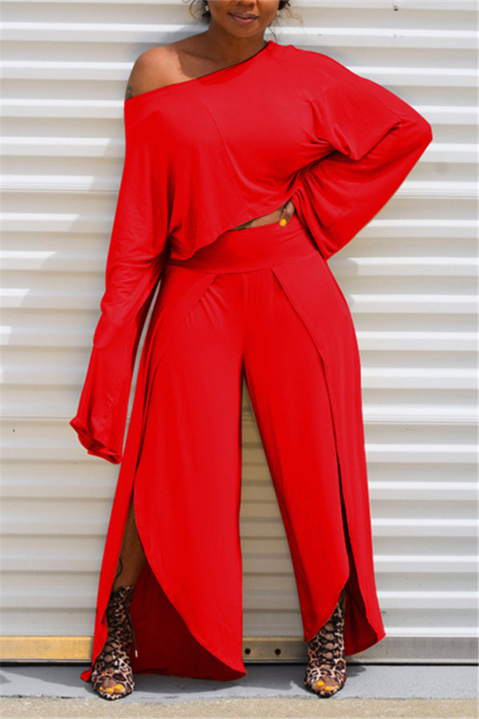 Solid Color Long Sleeve Slit Casual Two Piece Sets