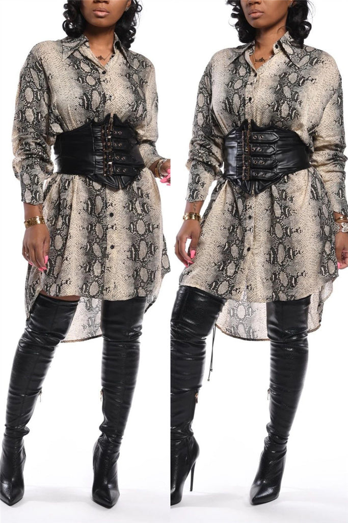 Snake Print Long Sleeve Shirt Dress