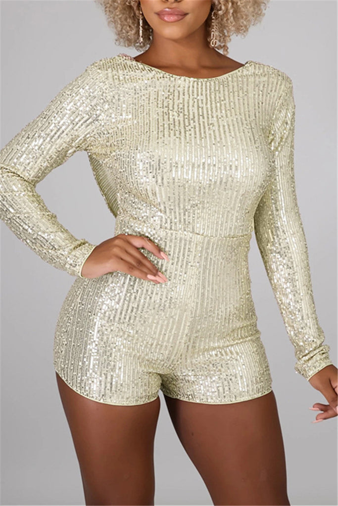 Open Back Long Sleeve Sequined Romper