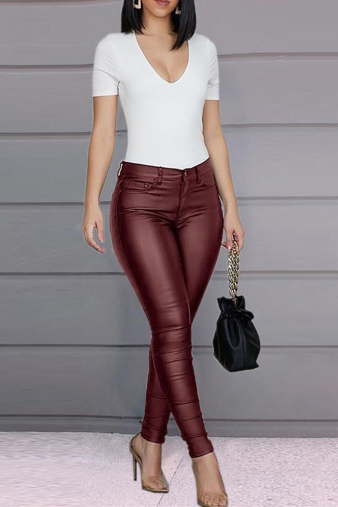 Solid Color Plus Size PU Pants