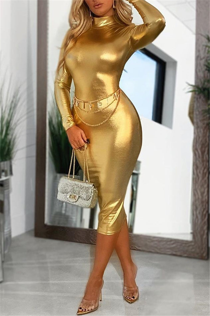 High Neck Long Sleeve Sexy Midi Dress