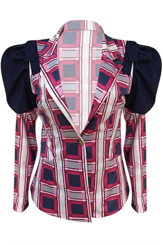 Puff Sleeve Tartan Plaid Blazer
