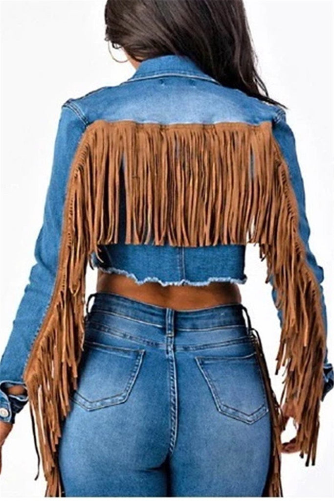 Tassels Decor Mid Wash Denim Jacket