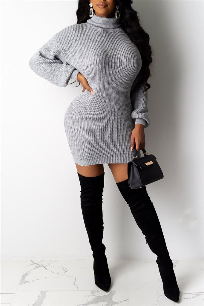 Turtleneck Solid Color Long Sleeve Sweater Dress