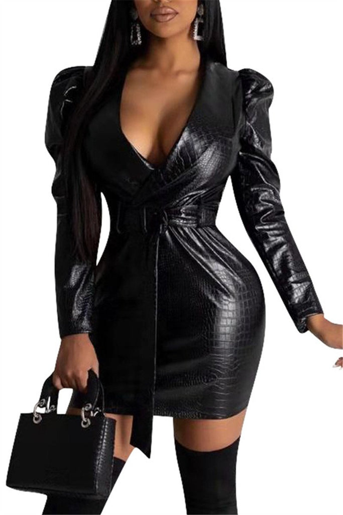 Turndown Collar Solid Color Leather Dress