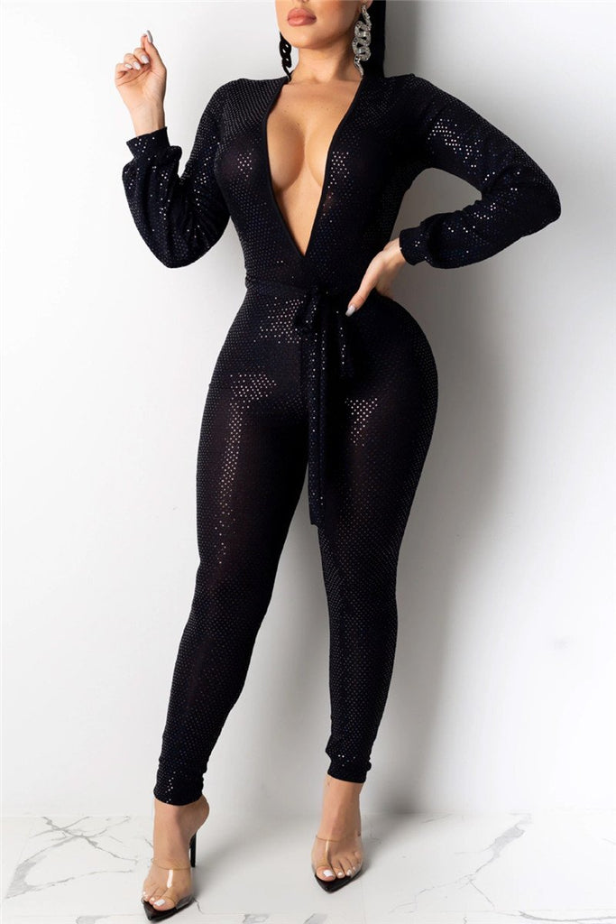Deep V Neck Open Back Sexy Jumpsuit