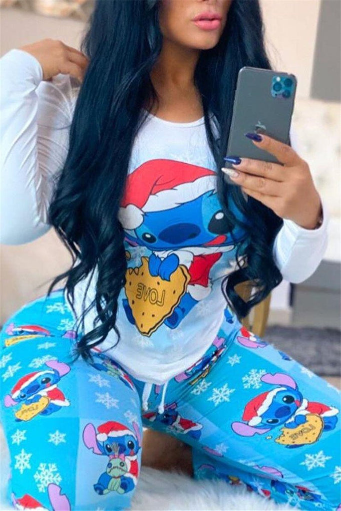 Cartoon Print Long Sleeve Christmas Two Piece Sets