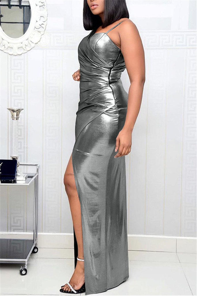 Hot Stamping One Sleeve Slit Maxi Dress