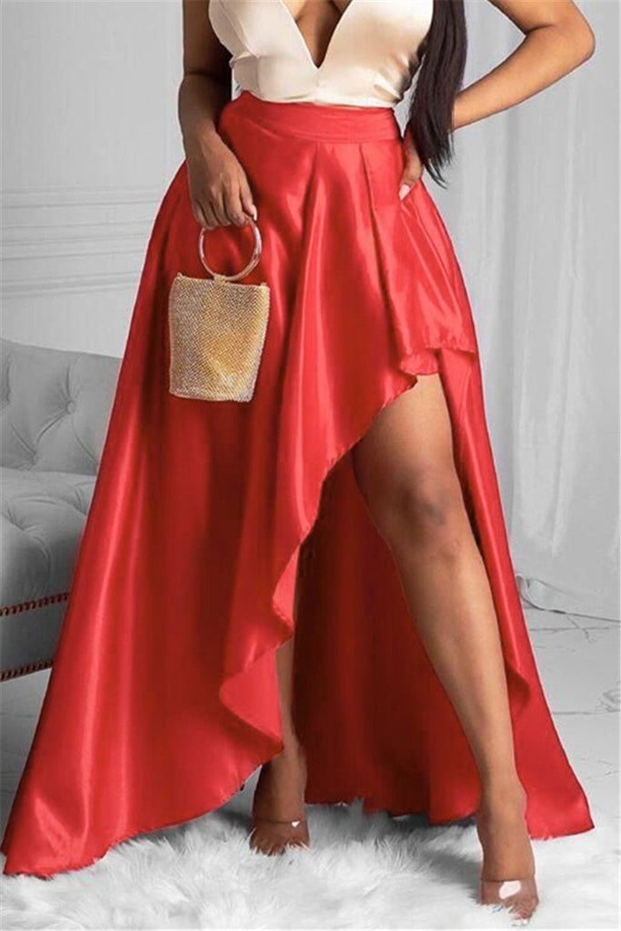 High Waist Solid Color Asymmetric Skirt
