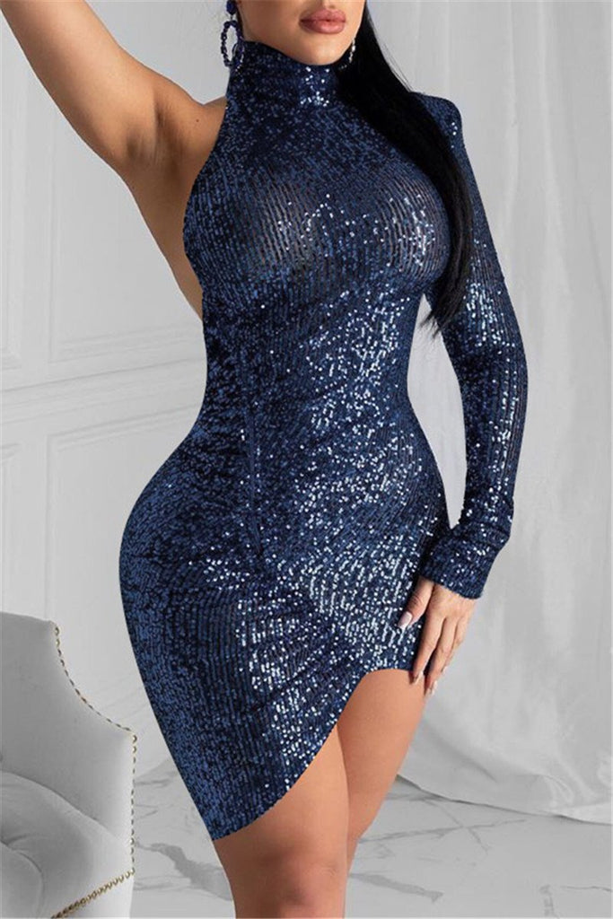 One Sleeve Open Back Sequined Sexy Dress