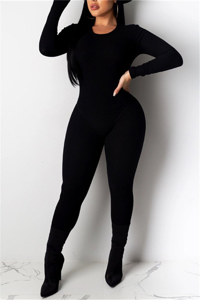 Solid Color Long Sleeve Jumpsuit