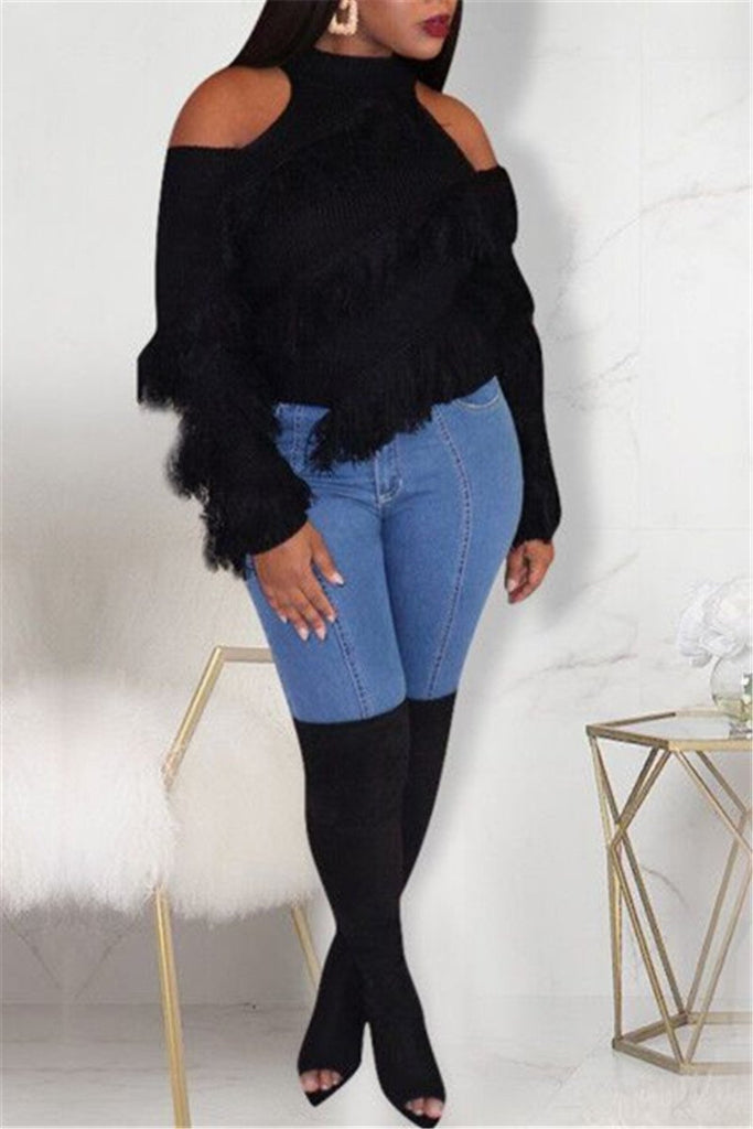 Tassels Decor Cold Shoulder Sweater