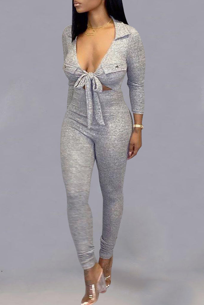 Deep V Neck Tie Up Hollow Out Jumpsuit