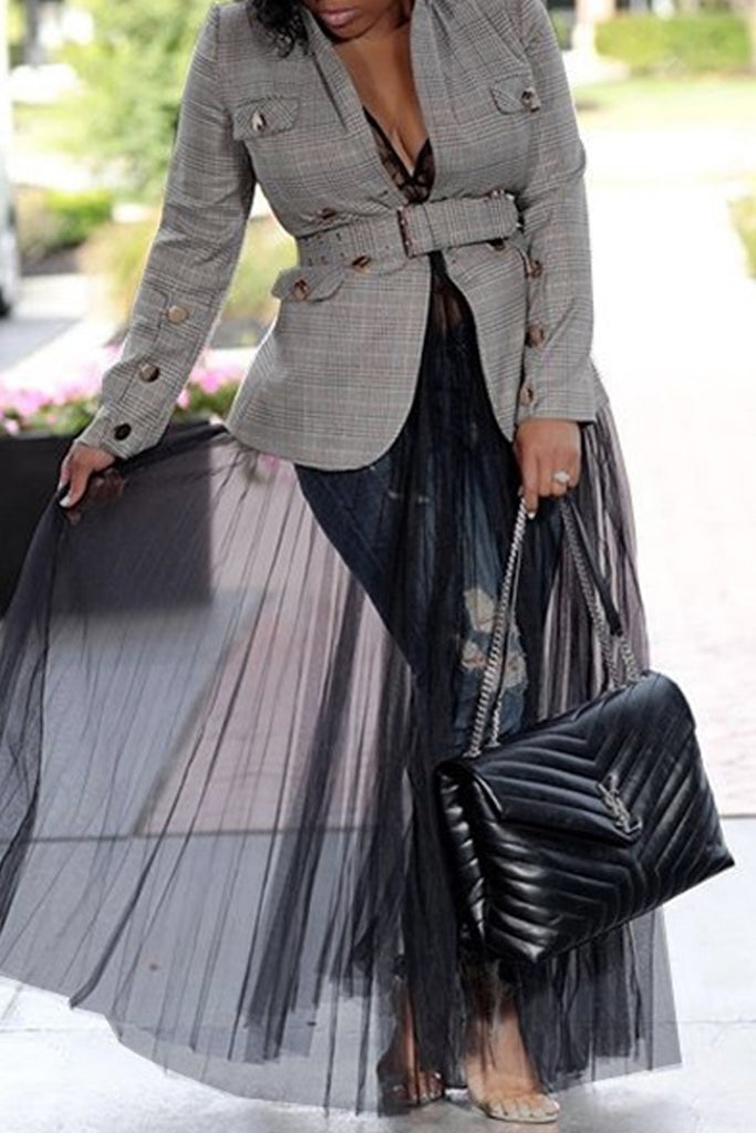 Turndown Collar Plaid Print Belted Blazer