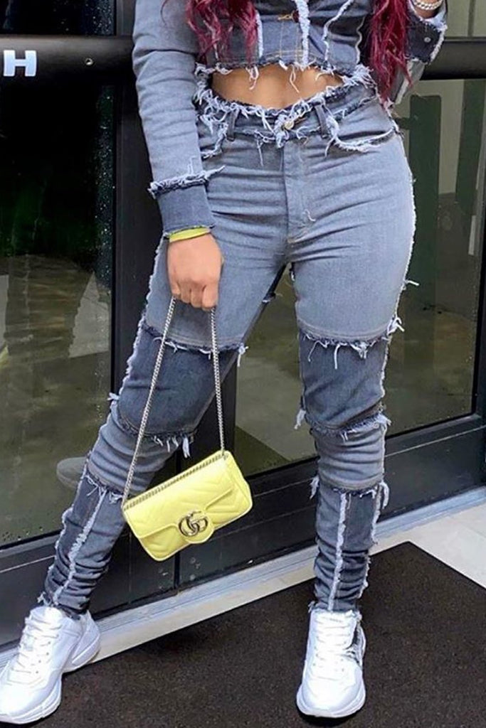 High Waist Denim Patchwork Distressed Pants