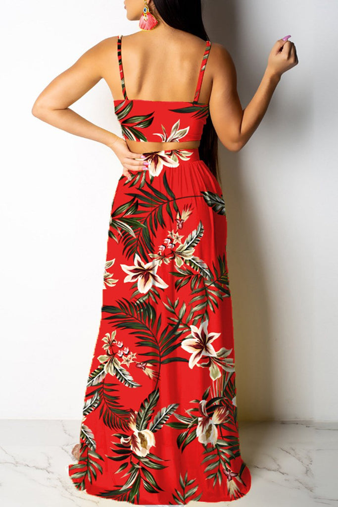 Spaghetti Straps High Slit Print Two Piece Maxi Dress