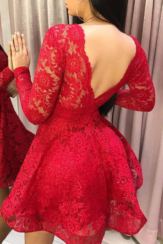 Lace Open Back See-through Mini Dress