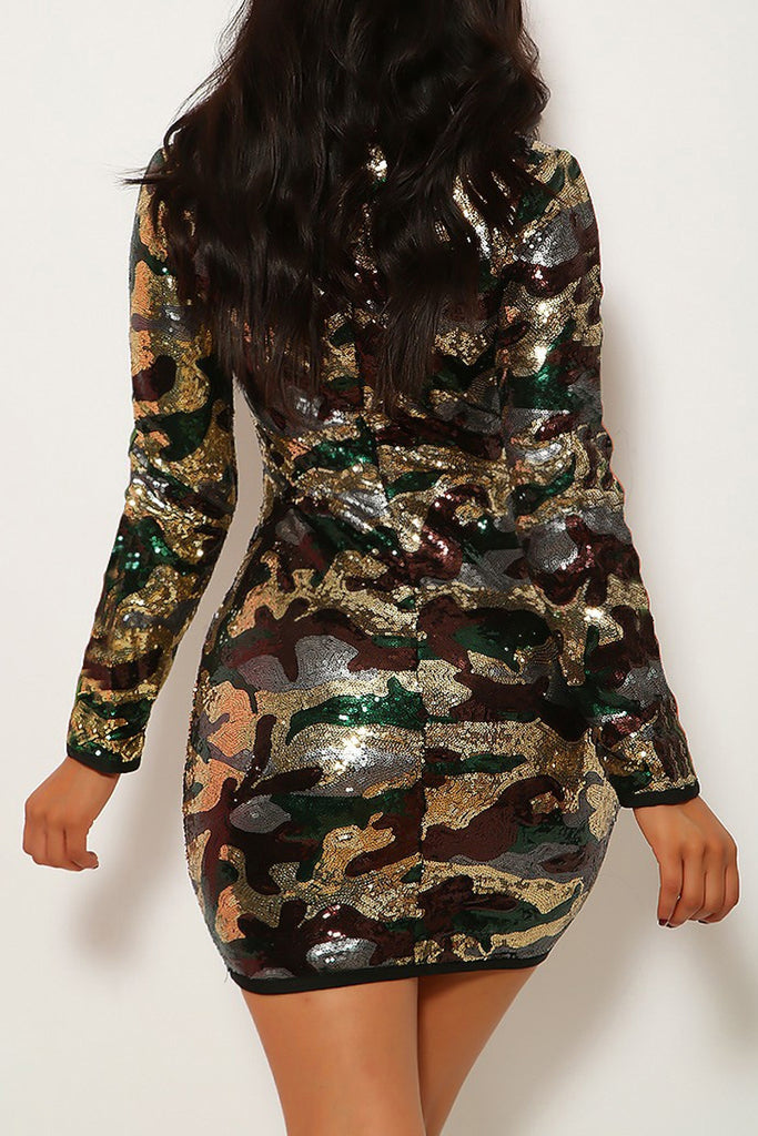 Sequin V-neck Long Sleeve Mini Dress