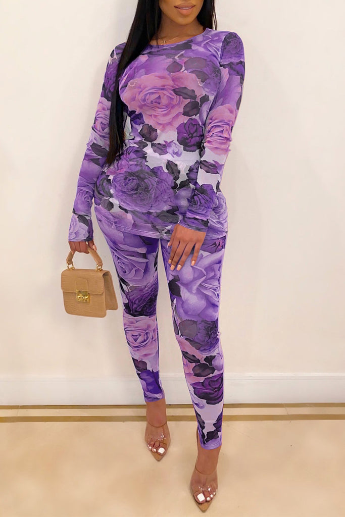 Flower Printed Long Sleeve Bodycon Top & Pants