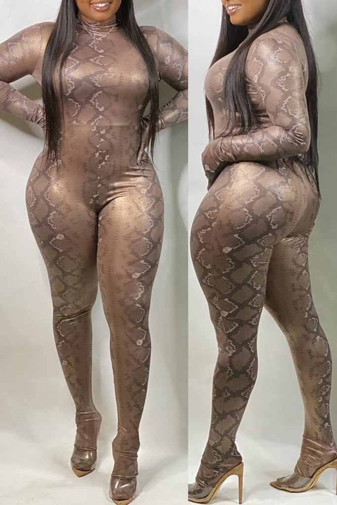 Snake Print Long Sleeve Bodycon Jumpsuit