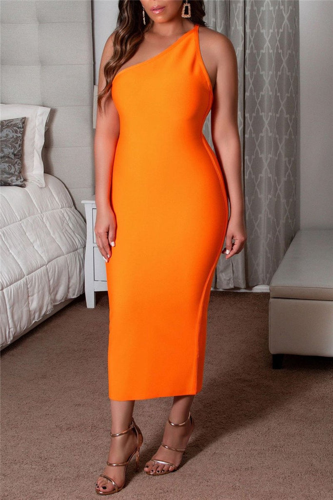 One Shoulder Solid Color Sleeveless Midi Dress