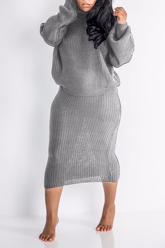 Knitted Solid Color High Neck Two Piece Dresses