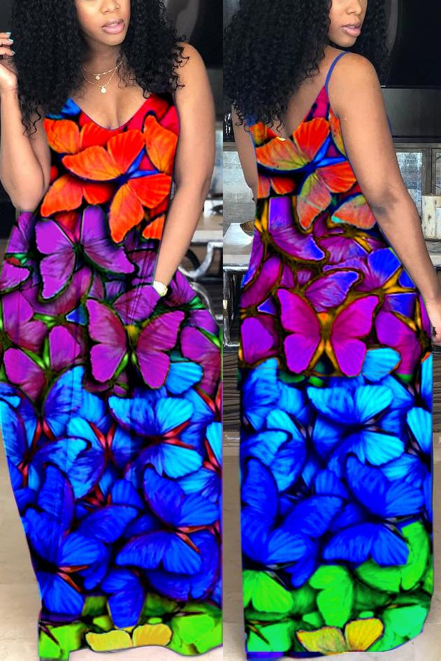 Colorful Butterfly Print Spaghetti Straps Pocket Dress