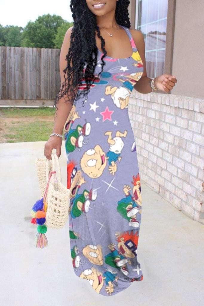 Cartoon Print Scoop Neck Maxi Dress