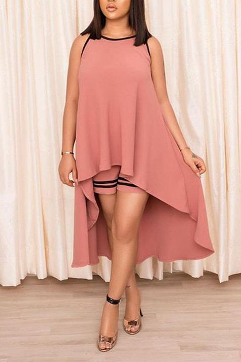 Asymmetric Hem Sleeveless Casual Two Piece Sets