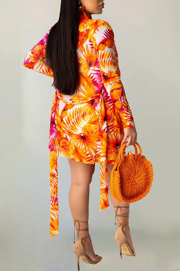 Flower Print Long Sleeve Belted Two Piece Sets