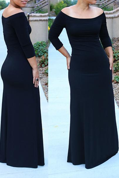 Off the Shoulder Solid Color Maxi Dress