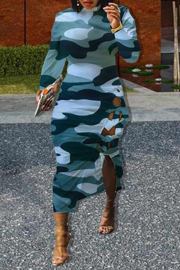 Camouflage Printed Side Bandage Midi Dress
