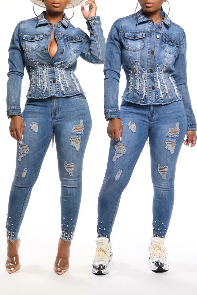 Denim Pearl Decorated Distressed Jacket