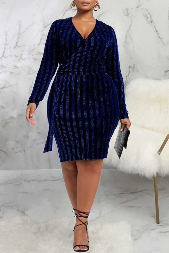 Lace-up V-neck Long Sleeve Midi Dress