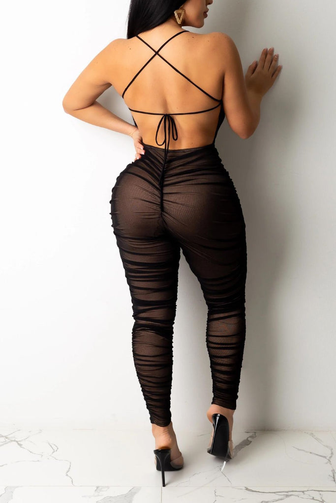 Semi Sheer Open Back Sexy Jumpsuit