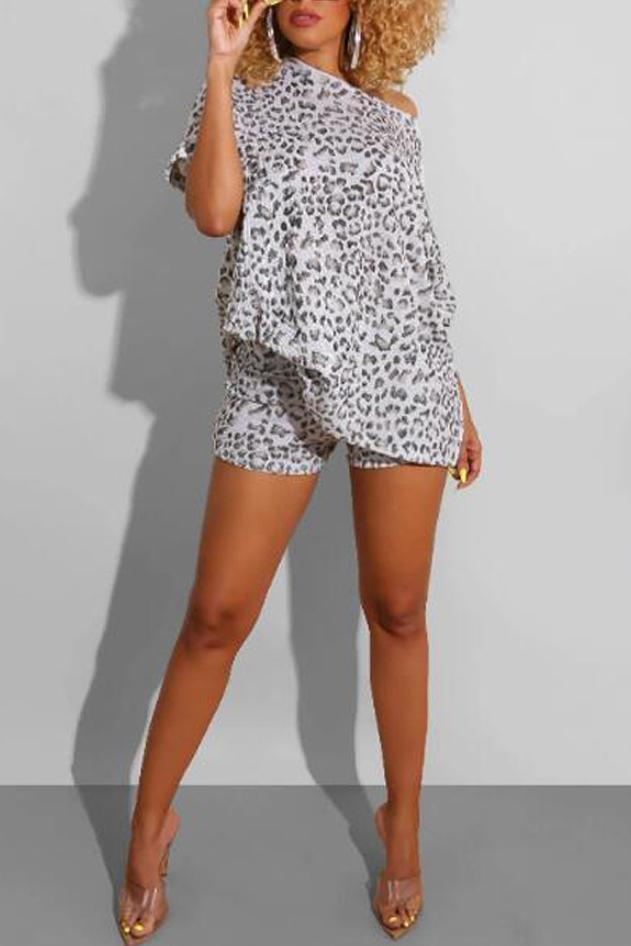 Leopard Print Skew Neck Casual Two Piece Sets