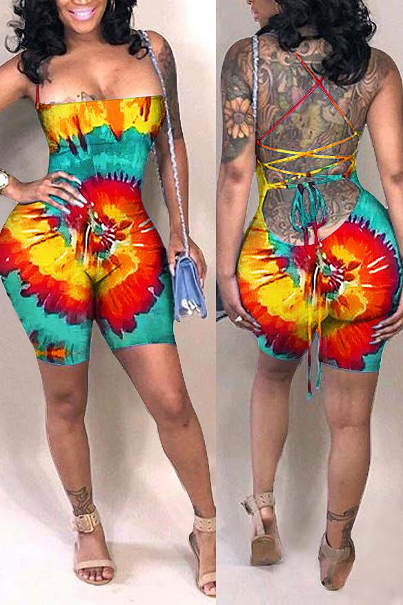 Open Back Tie Dye Sleeveless Sexy Romper