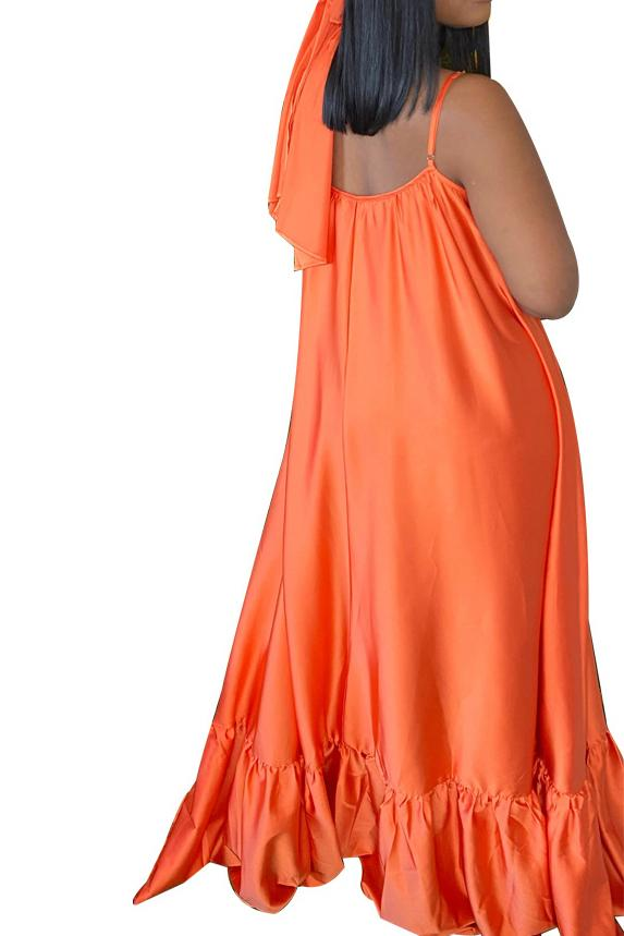 Spaghetti Straps Solid Color Maxi Dress