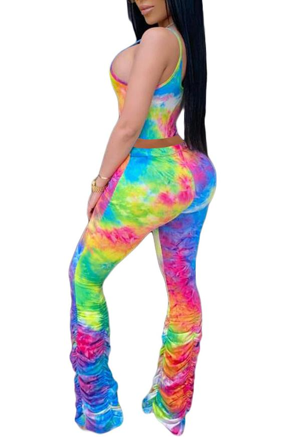 Spaghetti Straps Tie Dye Ruched Two Piece Sets