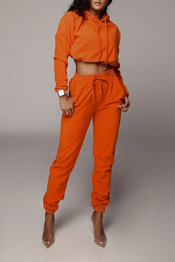 Solid Color High Waist Pocket Two Piece Outfits