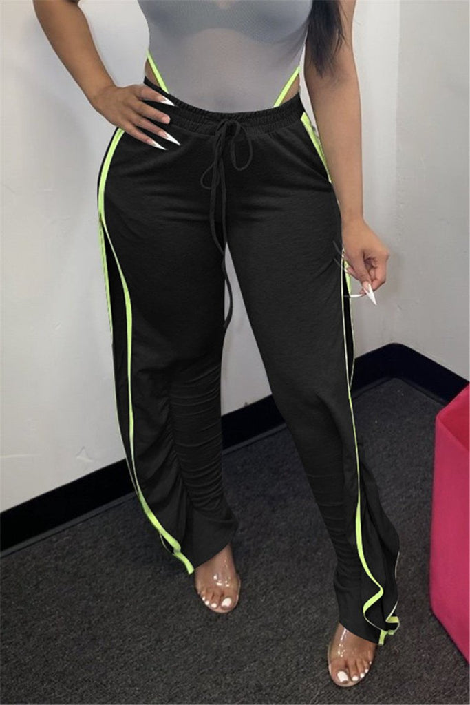 Side Slit Drawstring Waist Casual Pants