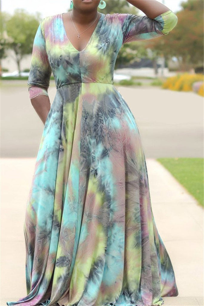 V Neck Plus Size Tie Dye Maxi Dress
