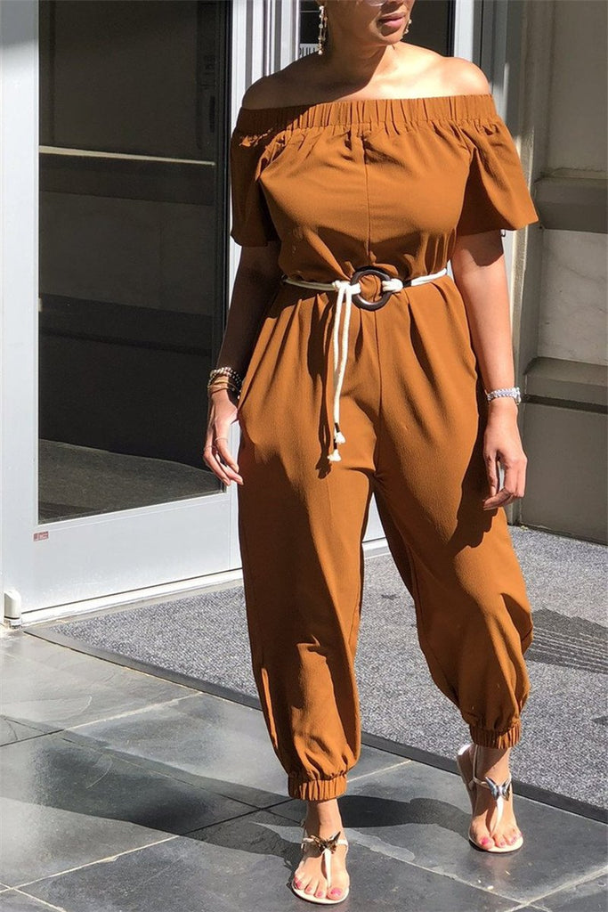 Off the Shoulder Solid Color Jumpsuit