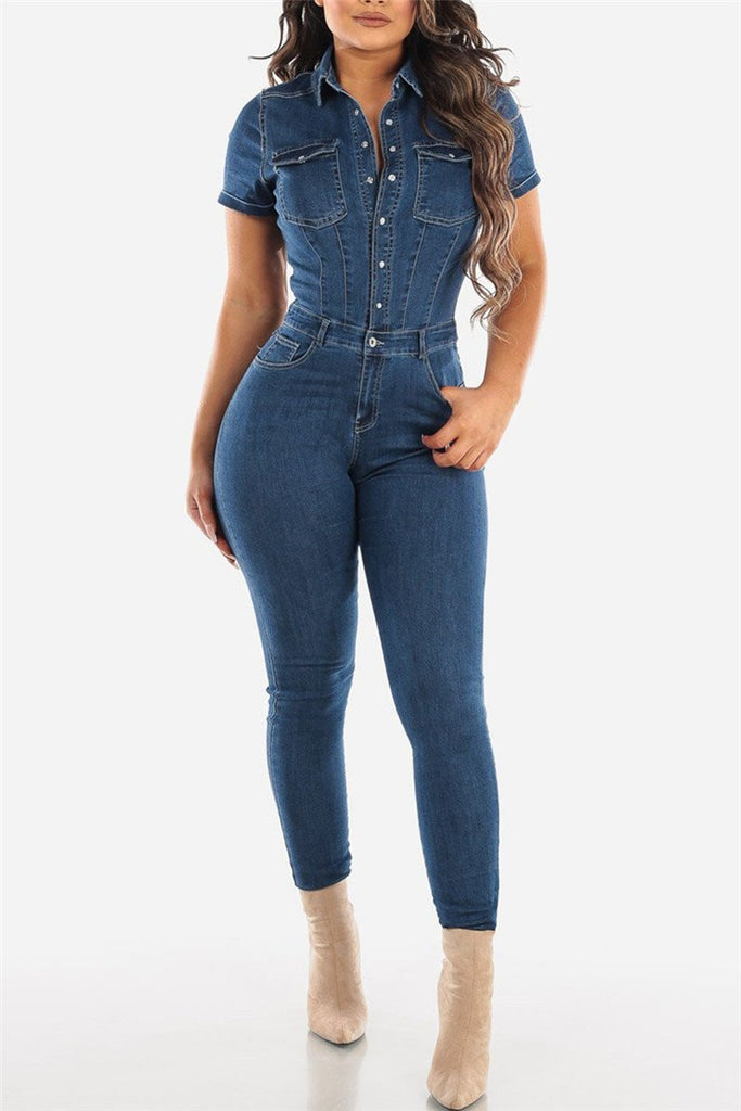 Button Up Short Sleeve Denim Jumpsuit