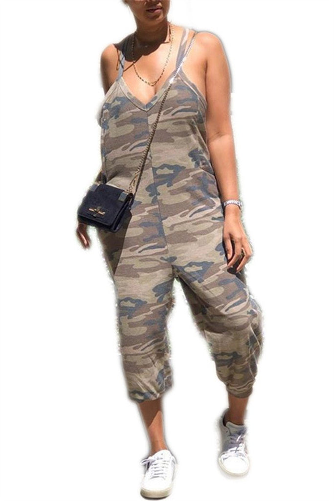 Spaghetti Straps Camouflage Print Pocket Jumpsuit